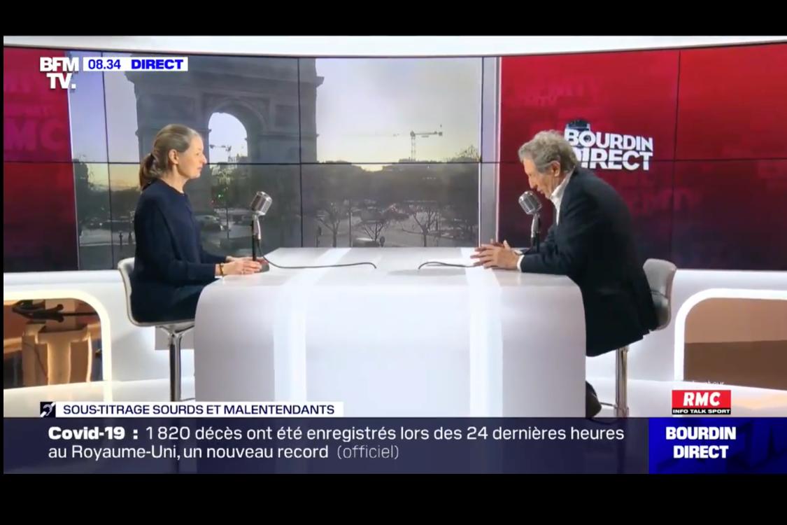 Odile Launay, infectiologue, face à Jean-Jacques Bourdin sur RMC et BFMTV