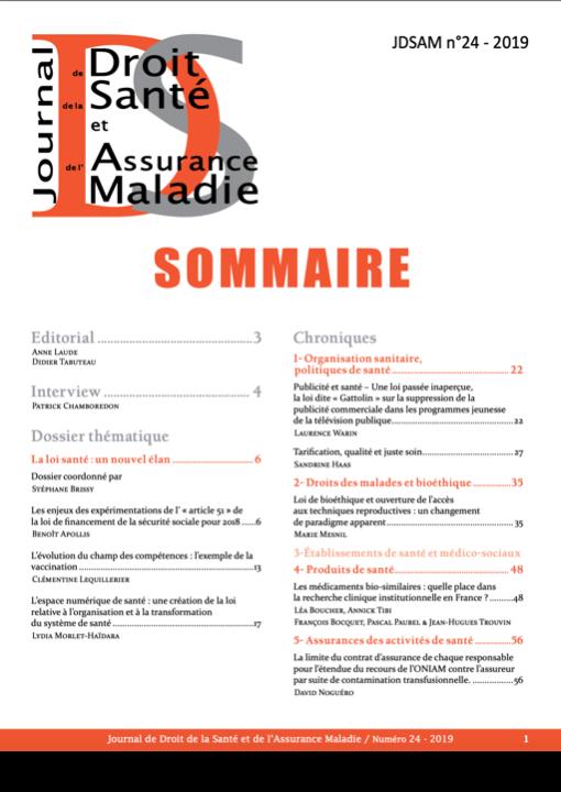 Journal de droit de la santé et de l'assurance maladie