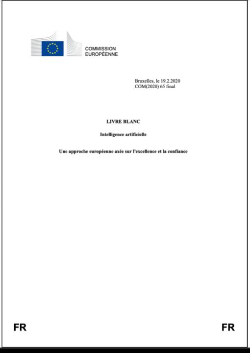 Intelligence artificielle : Une approche européenne axée sur l'excellence et la confiance (Livre blanc)