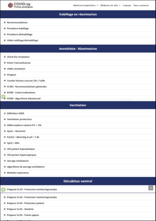 Fiches pratiques COVID 19 : Médecine de ville, Anesthésie-Réanimation, Ventillation, Décubitus-Ventral, Habillage