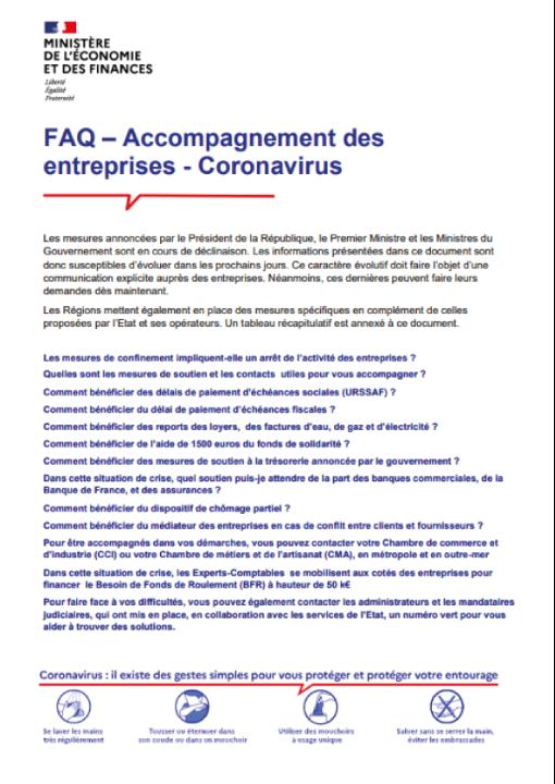 FAQ – Accompagnement des entreprises - Coronavirus