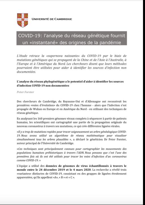 COVID-19: l'analyse du réseau génétique fournit un «instantané» des origines de la pandémie