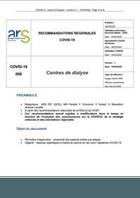 Règles destinées aux centres de dialyse d'Ile de France