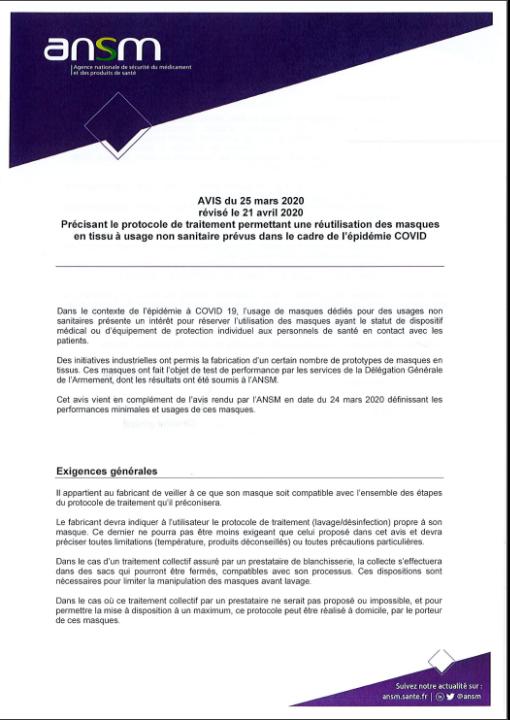Avis du 25 mars 2020 révisé le 21 avril 2020 précisant le protocole de traitement permettant une réutilisation des masques en tissu à usage sanitaire prévus dans le cadre de l'épidémie COVID