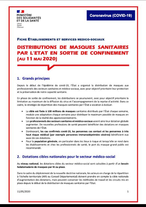 Distribution de masques sanitaires par l'état en sortie de confinement (au 11 Mai 2020)