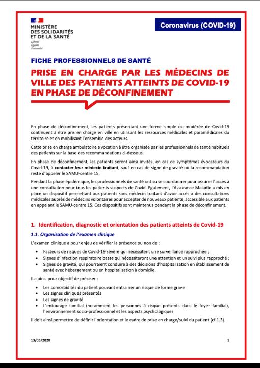 Prise en charge par les médecins de ville des patients atteints de COVID-19 en phase de déconfinement