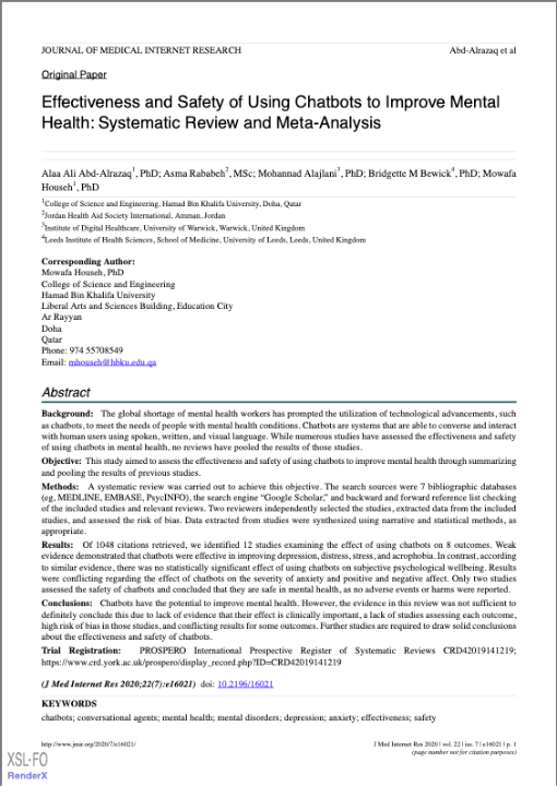 Effectiveness and Safety of Using Chatbots to Improve Mental Health: Systematic Review and Meta-Analysis