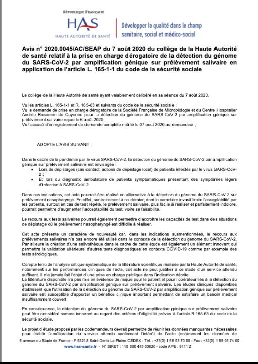 Avis n° 2020.0045/AC/SEAP du 7 août 2020 du collège de la HAS relatif à la prise en charge dérogatoire de la détection du génome du SARS-CoV-2 par amplification génique sur prélèvement salivaire