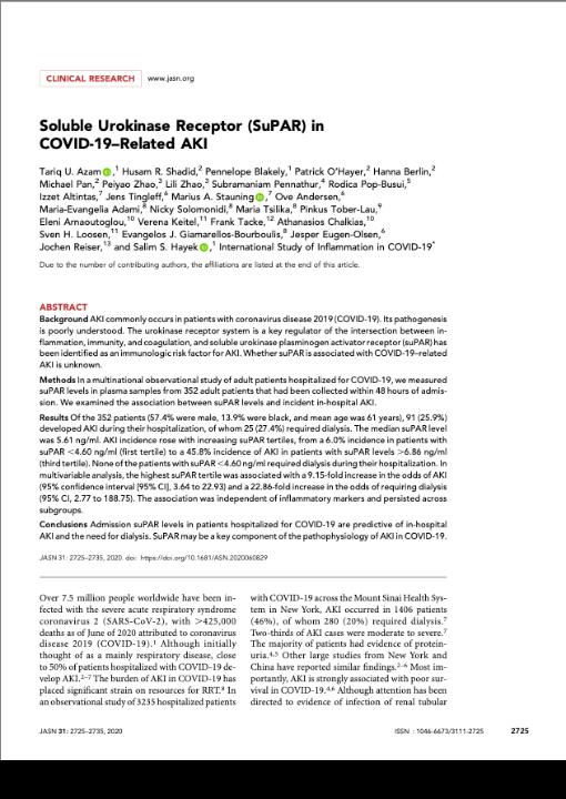 Soluble Urokinase Receptor (SuPAR) in COVID-19–Related AKI