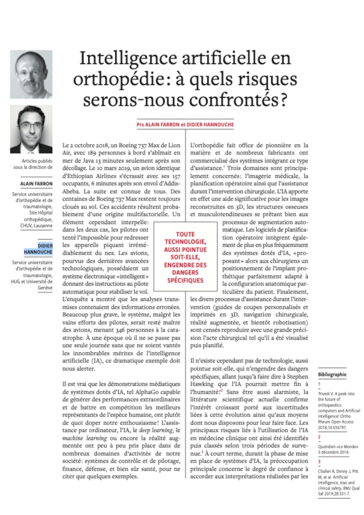 Intelligence artificielle en orthopédie : à quels risques serons-nous confrontés ?