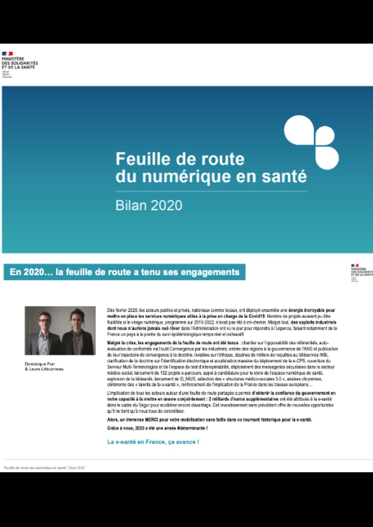 Feuille de Route du Numérique en Santé: Bilan 2020
