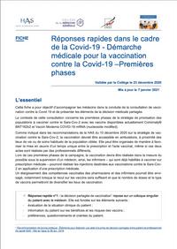 Réponses rapides dans le cadre de la Covid-19 - Démarche médicale pour la vaccination contre la Covid-19 –Premières phases