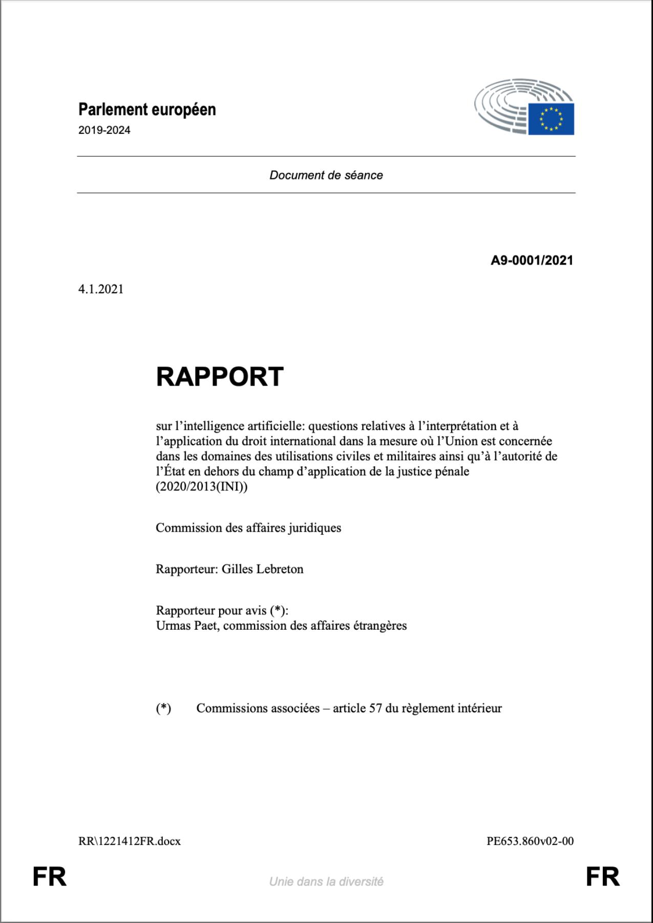 Questions relatives à l'interprétation et à l'application du droit international dans la mesure où l'Union est concernée dans les domaines des utilisations civiles et militaires