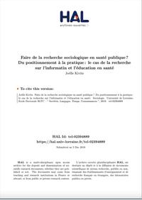 Faire de la recherche sociologique en santé publique? Du positionnement à la pratique: le cas de la recherche sur l'informatin et l'éducation en santé