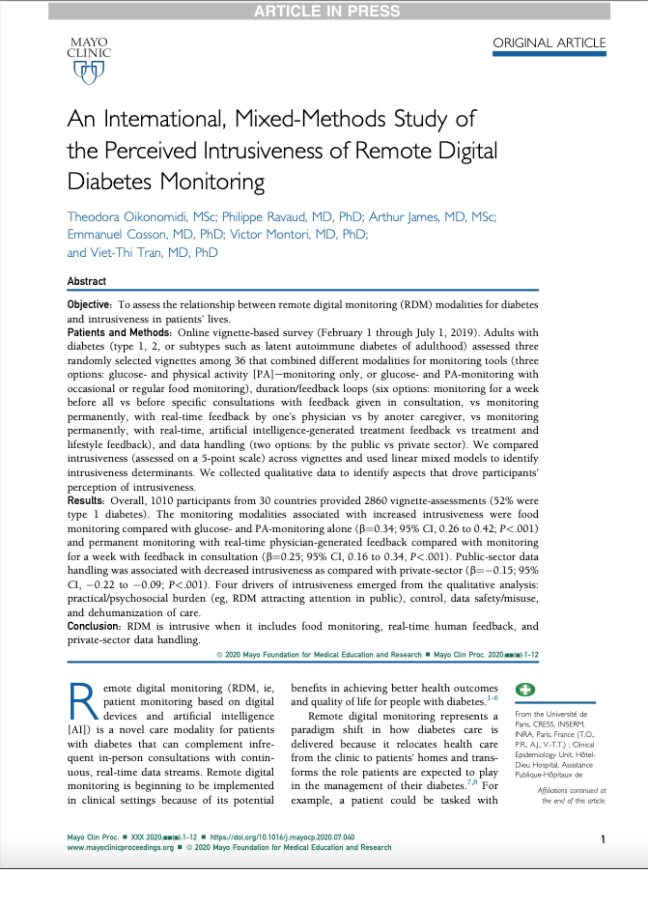 An International, Mixed-Methods Study of the Perceived Intrusiveness of Remote Digital Diabetes Monitoring