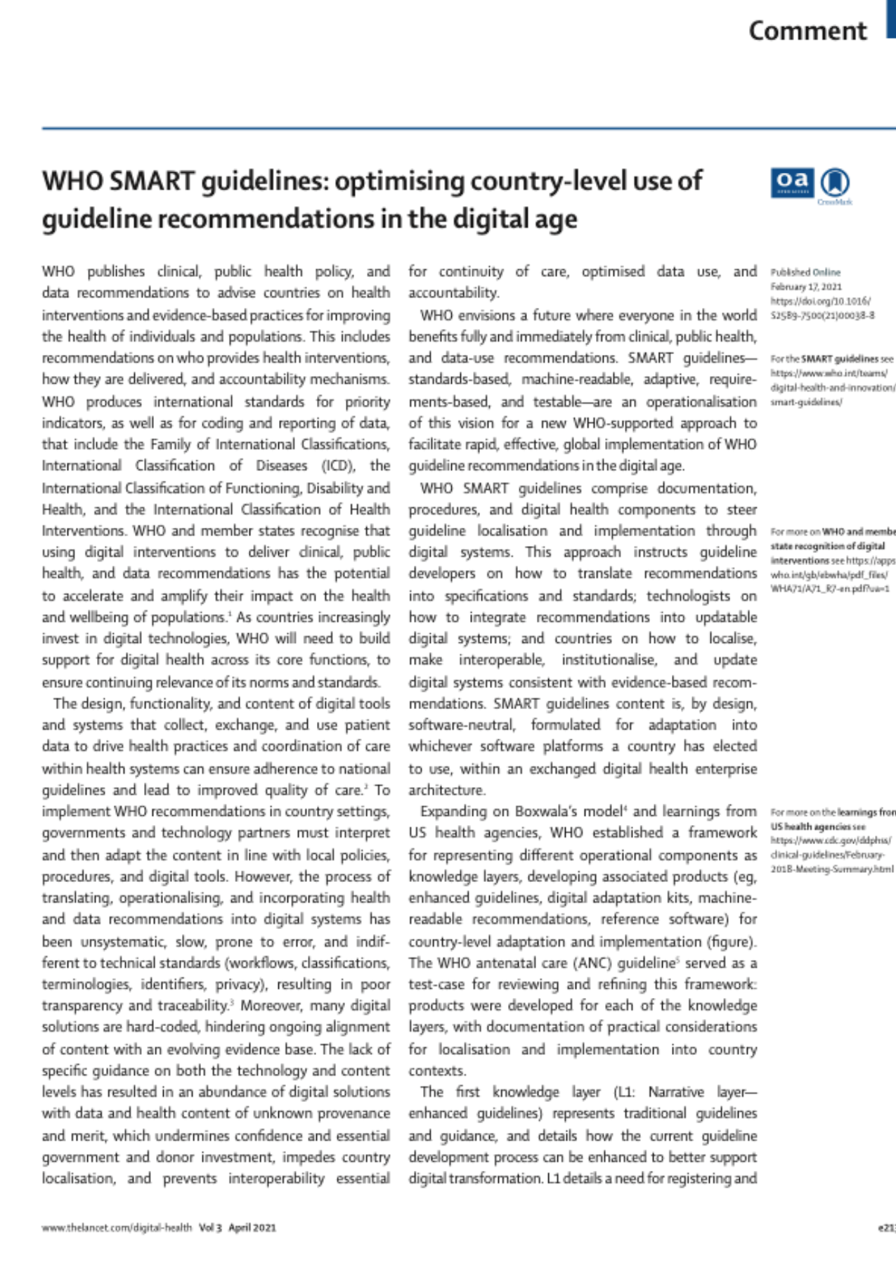 WHO SMART guidelines: optimising country-level use of guideline recommendations in the digital age