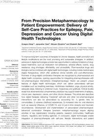 From Precision Metapharmacology to Patient Empowerment: Delivery of Self-Care Practices for Epilepsy, Pain, Depression and Cancer Using Digital Health Technologies
