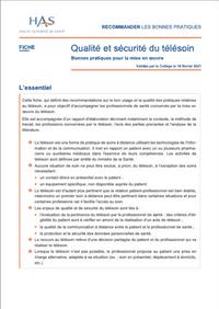 Qualité et sécurité du télésoin Bonnes pratiques pour la mise en œuvre