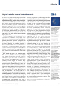 Digital tools for mental health in a crisis