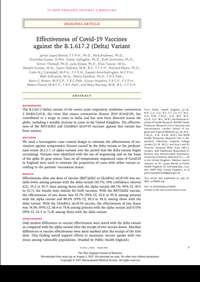 Effectiveness of Covid-19 Vaccines against the B.1.617.2 (Delta) Variant